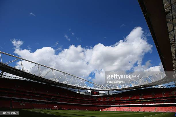 A general view inside the stadium prior to the Barclays Premier League match between Arsenal and Stoke City at the Emirates Stadium on September 12...