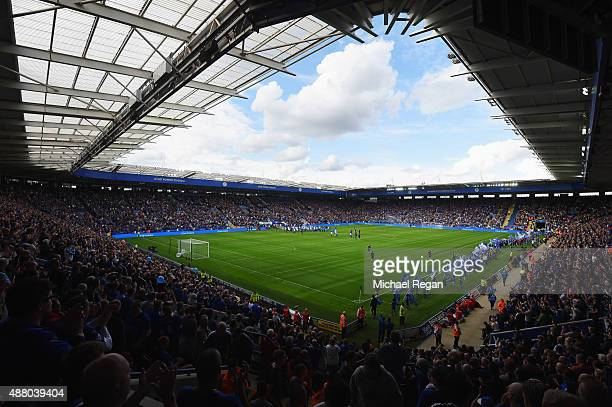 A general view inside the stadium prior to the Barclays Premier League match between Leicester City and Aston Villa at the King Power Stadium on...