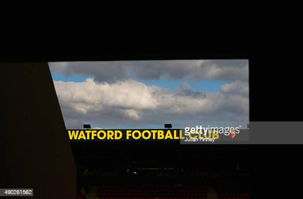 A general view inside the stadium prior to the Barclays Premier League match between Watford and Crystal Palace at Vicarage Road on September 27 2015...