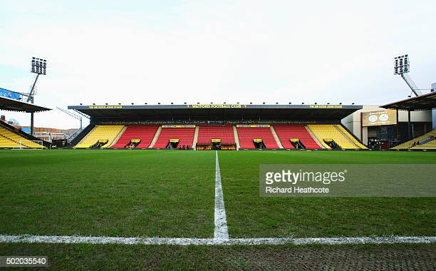 A general view inside the stadium prior to the Barclays Premier League match between Watford and Liverpool at Vicarage Road on December 20 2015 in...
