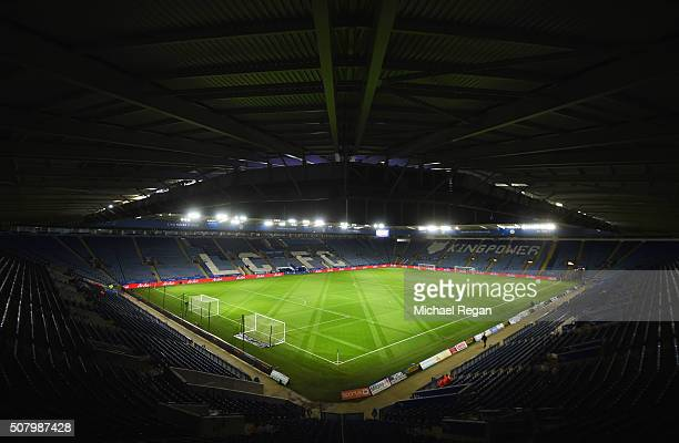 A general view inside the stadium prior to the Barclays Premier League match between Leicester City and Liverpool at The King Power Stadium on...