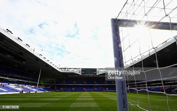 A general view inside the stadium prior to the Barclays Premier League match between Tottenham Hotspur and AFC Bournemouth at White Hart Lane on...
