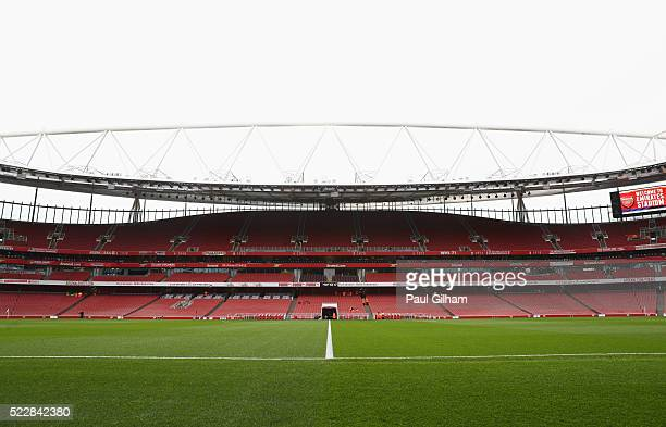 A general view inside the stadium prior to the Barclays Premier League match between Arsenal and West Bromwich Albion at the Emirates Stadium on...