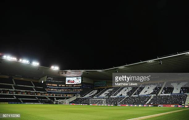 A general view inside the stadium prior to the Emirates FA Cup fourth round match between Derby County and Manchester United at iPro Stadium on...
