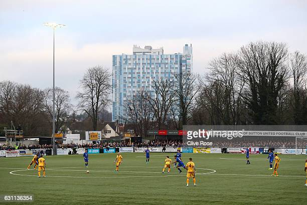 A general view inside the stadium prior to The Emirates FA Cup Third Round match between Sutton United and AFC Wimbledon at the Borough Sports Ground...