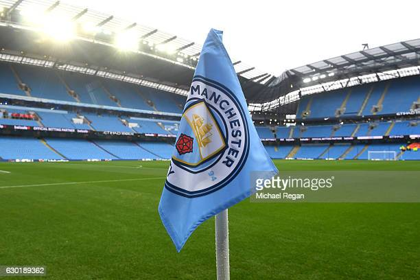 General view inside the stadium prior to the Premier League match between Manchester City and Arsenal at the Etihad Stadium on December 18 2016 in...