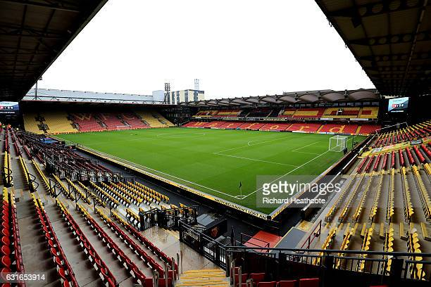 General view inside the stadium prior to the Premier League match between Watford and Middlesbrough at Vicarage Road on January 14 2017 in Watford...