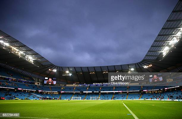 A general view inside the stadium prior to the Premier League match between Manchester City and Tottenham Hotspur at the Etihad Stadium on January 21...