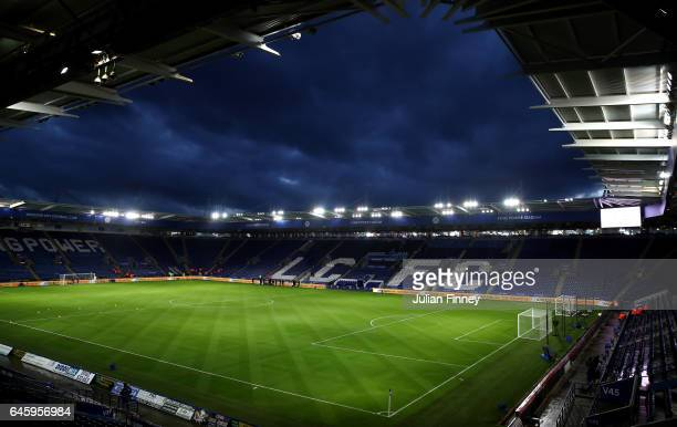 A general view inside the stadium prior to the Premier League match between Leicester City and Liverpool at The King Power Stadium on February 27...