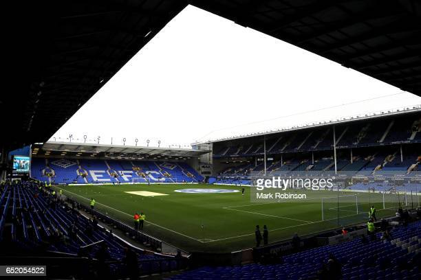General view inside the stadium prior to the Premier League match between Everton and West Bromwich Albion at Goodison Park on March 11 2017 in...