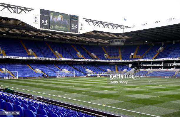 General view inside the stadium prior to the Premier League match between Tottenham Hotspur and Arsenal at White Hart Lane on April 30 2017 in London...