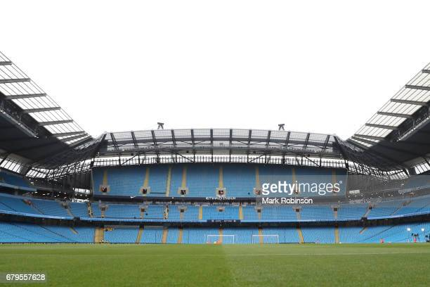 A general view inside the stadium prior to the Premier League match between Manchester City and Crystal Palace at the Etihad Stadium on May 6 2017 in...
