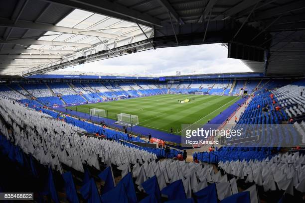 General view inside the stadium prior to the Premier League match between Leicester City and Brighton and Hove Albion at The King Power Stadium on...