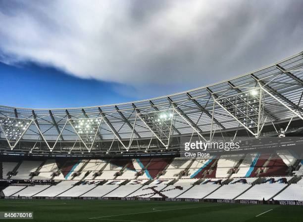 A general view inside the stadium prior to the Premier League match between West Ham United and Huddersfield Town at London Stadium on September 11...
