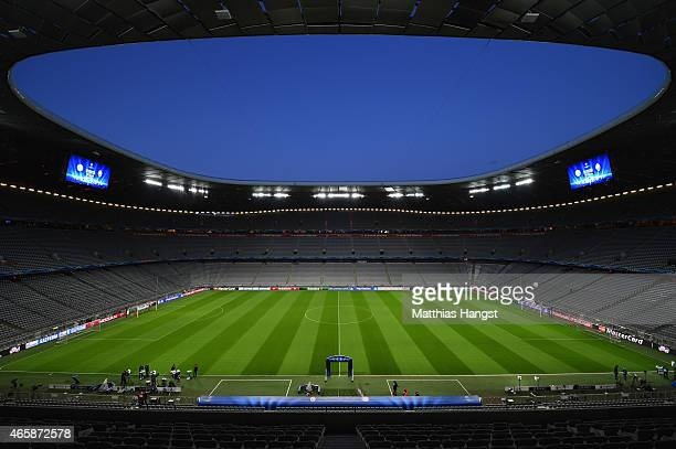 A general view inside the stadium prior to the UEFA Champions League Round of 16 second leg match between FC Bayern Muenchen and FC Shakhtar Donetsk...