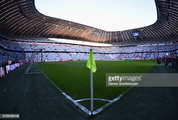 A general view inside the stadium prior to the UEFA Champions League Quarter Final Second Leg match between FC Bayern Muenchen and FC Porto at...