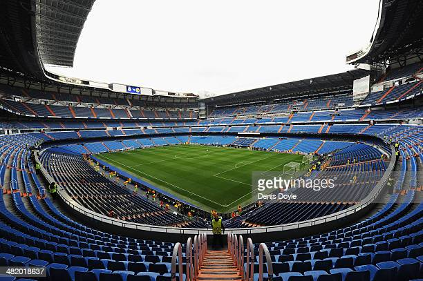 A general view inside the stadium prior to the UEFA Champions League Quarter Final first leg match between Real Madrid and Borussia Dortmund at...