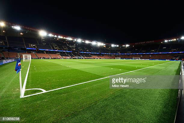 A general view inside the stadium prior to the UEFA Champions League round of 16 first leg match between Paris SaintGermain and Chelsea at Parc des...