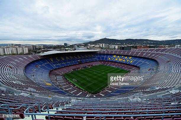 A general view inside the stadium prior to the UEFA Champions League quarter final first leg match between FC Barcelona and Club Atletico de Madrid...