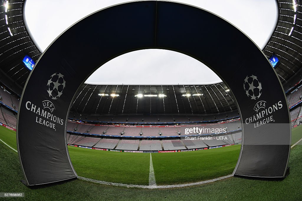 A general view inside the stadium prior to the UEFA Champions League Semi Final second leg match between FC Bayern Muenchen and Club Atletico de Madrid at the Allianz Arena on May 03, 2016 in Munich, Bavaria.