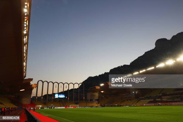 A general view inside the stadium prior to the UEFA Champions League Round of 16 second leg match between AS Monaco and Manchester City FC at Stade...