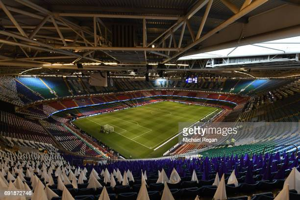 General view inside the stadium prior to the UEFA Champions League Final between Juventus and Real Madrid at National Stadium of Wales on June 3 2017...