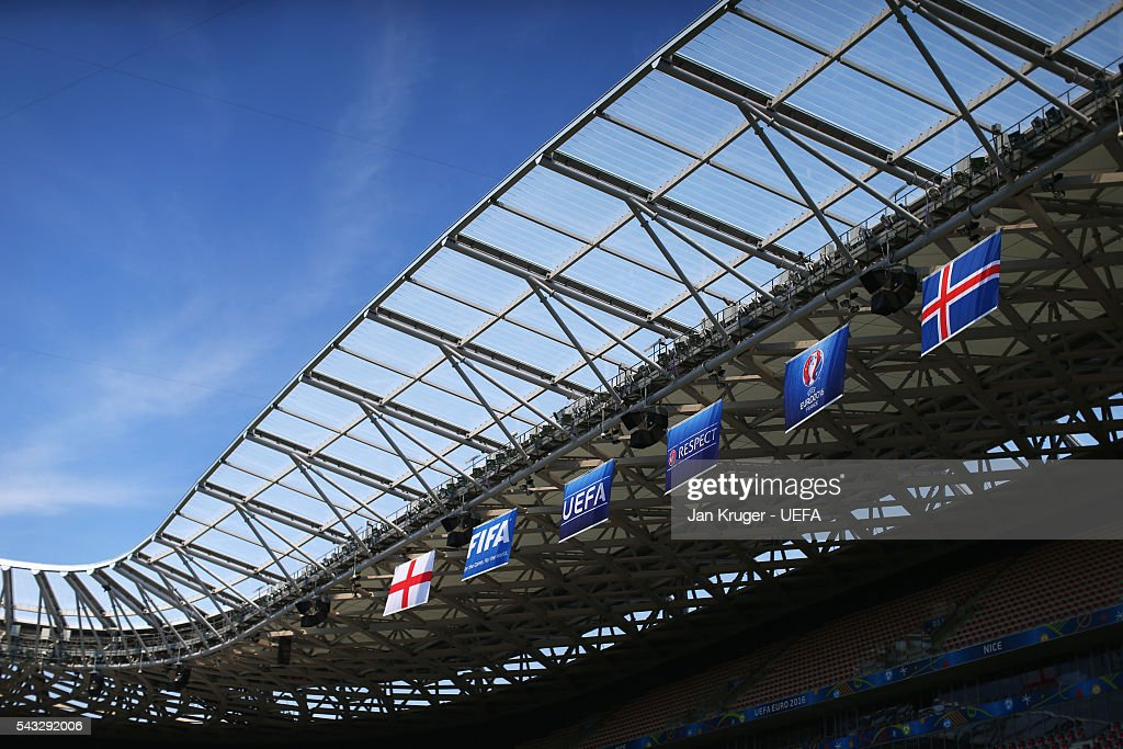 A general view inside the stadium prior to the UEFA EURO 2016 round of 16 match between England and Iceland at Allianz Riviera Stadium on June 27, 2016 in Nice, France.