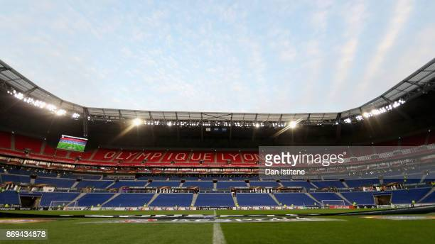 General view inside the stadium prior to the UEFA Europa League group E match between Olympique Lyon and Everton FC at Stade de Lyon on November 2...