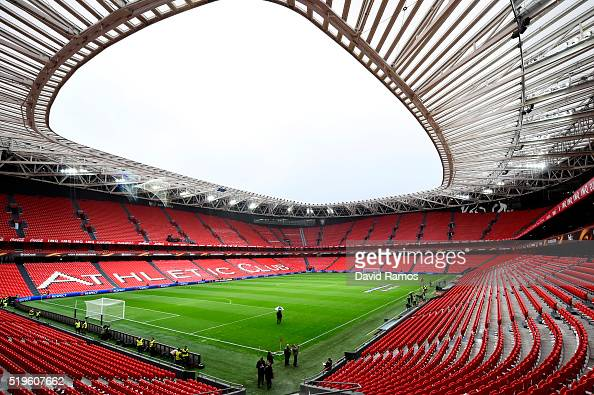 A general view inside the stadium prior to the UEFA Europa League quarter final first leg match between Athletic Bilbao and Sevilla at San Mames...