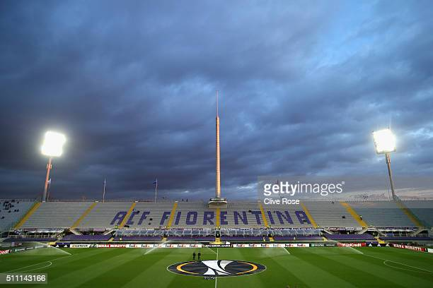 A general view inside the stadium prior to the UEFA Europa League round of 32 first leg match between Fiorentina and Tottenham Hotspur at Stadio...
