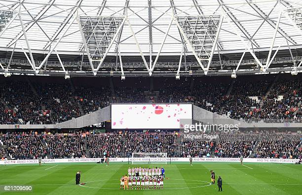 General view inside the stadium the Stoke City and West Ham United teams take part in a minutes silence in honour of Remembrance Day prior to kick...