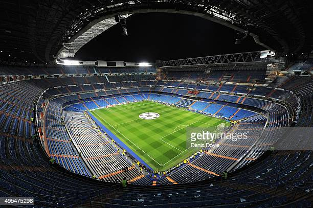 A general view inside the stadium the UEFA Champions League Group A match between Real Madrid CF and Paris SaintGermain at Estadio Santiago Bernabeu...