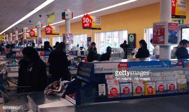 A general view inside the Tesco store on Old Kent Road London as the grocery chain announced an 118% hike in annual profits today