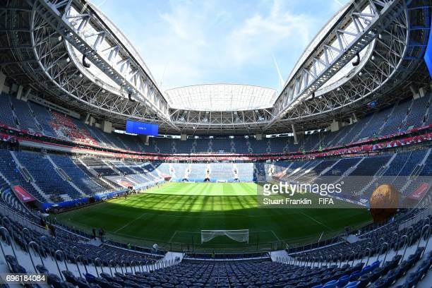 A general view inside the Zenit Arena on June 15 2017 in St Petersburg Russia
