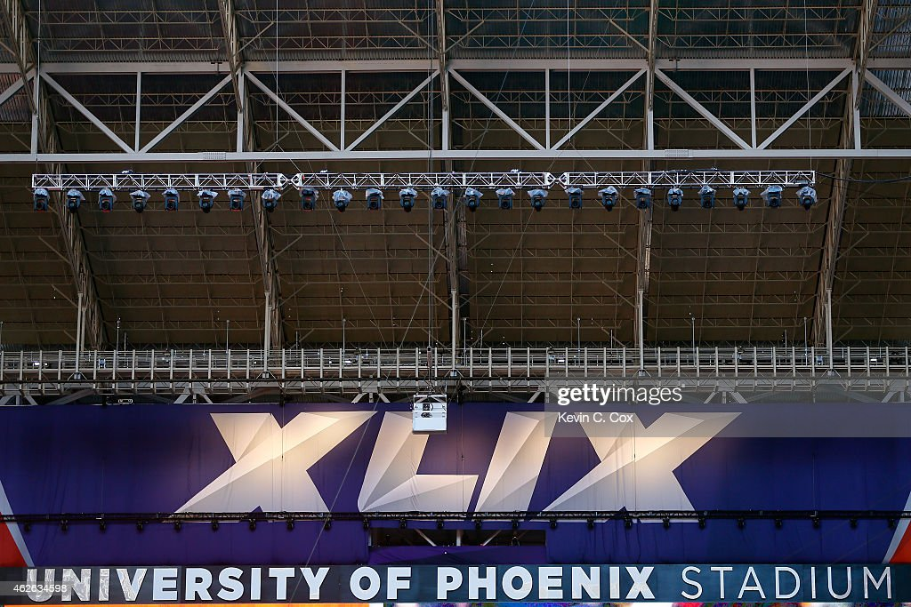 A general view inside University of Phoenix Stadium prior to Super Bowl XLIX between the New England Patriots and the Seattle Seahawks on February 1...