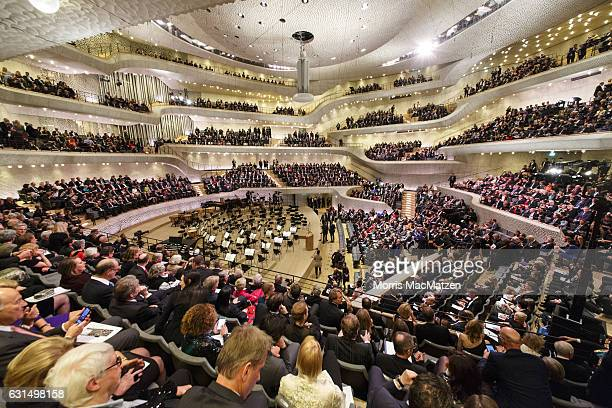 A general view inside view taken during the opening concert of the Elbphilharmonie concert hall on January 11 2017 in Hamburg Germany Tonights...