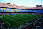 A general view intside the stadium prior to the UEFA Champions League Quarter Final second leg match between FC Barcelona and Paris SaintGermain at...