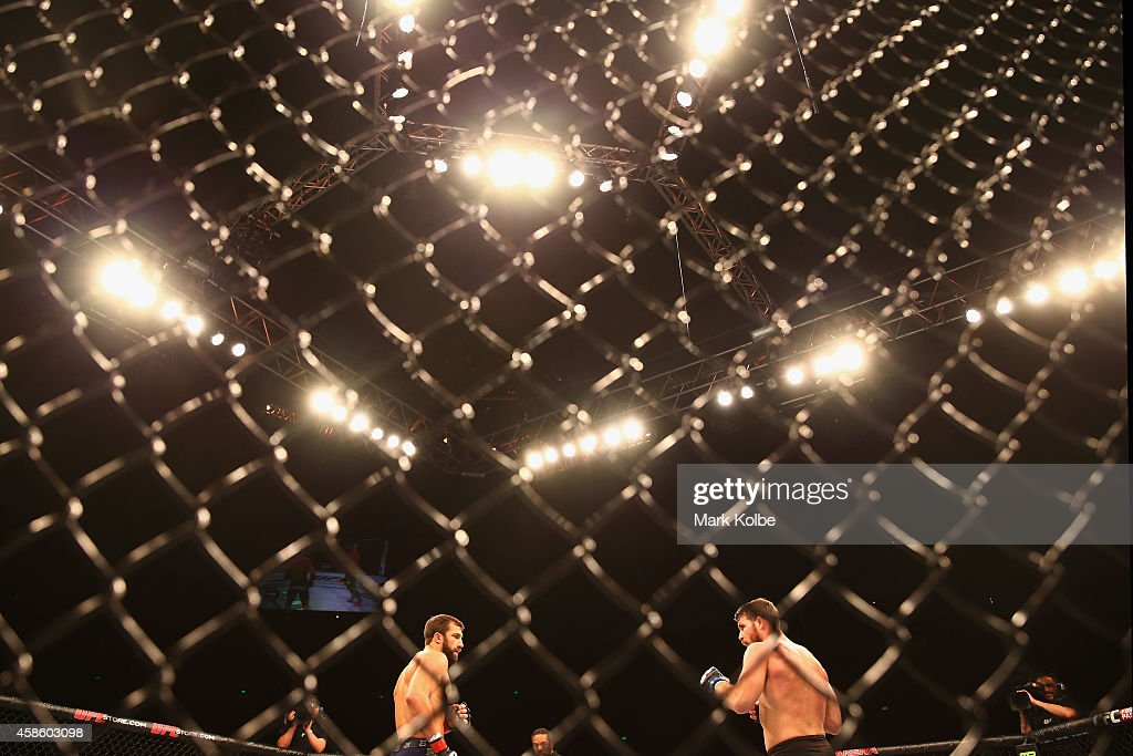 A general view is is seen in the Octagon as Luke Rockhold and Michael Bisping shape up in their middleweight fight during the UFC Fight Night 55...