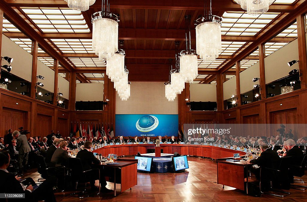 General view is pictured during the meeting of the NATO-RUSSIA Council at an informal meeting of NATO member foreign ministers on April 15, 2011 in Berlin, Germany. The principal focus of the two-day meeting is the alliance's military involvement in the war in Libya, though it also includes special roundtables on the alliance's relationship to Russia, Ukraine and Georgia.