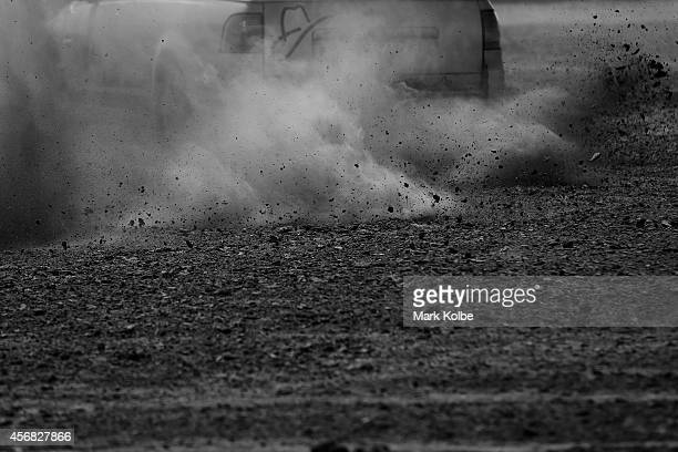 A general view is seen as a competitor drives in the Australian national circle work championships heats on the first day of the 2014 Deni Ute Muster...