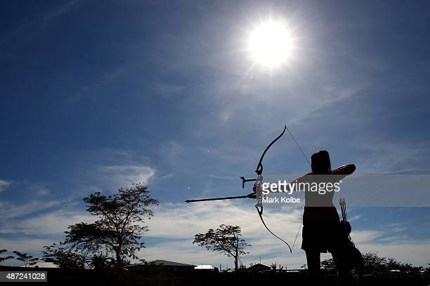 A general view is seen as an athletes practises before the archery qualification round at the Tuanaimato Sports Facility on day two of the Samoa 2015...