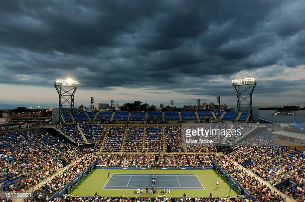 A general view is seen as Andy Murray of Great Britain competes against Marin Cilic of Croatia during their men's singles quarterfinal match on Day...