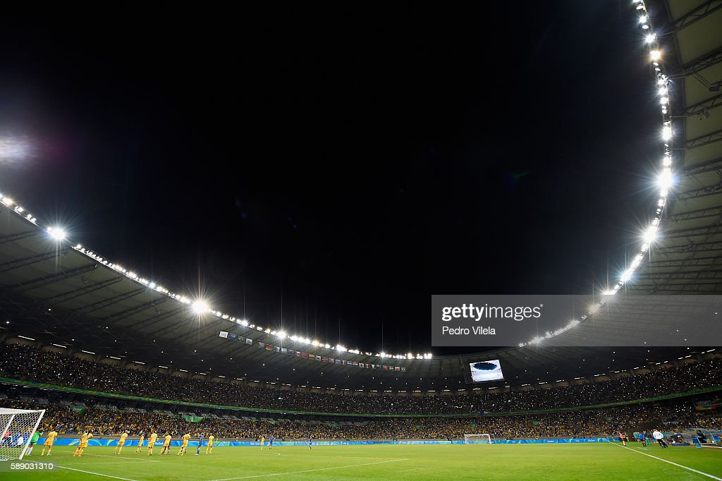 A general view is seen as Australia and Brazil play during the second half of the Women's Football Quarterfinal match at Mineirao Stadium on Day 7 of...