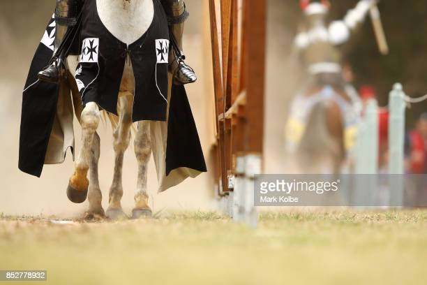 A general view is seen as Cliff Marisma of Australia and Per Estein ProisRohjell of Norway compete in the World Jousting Championships on September...