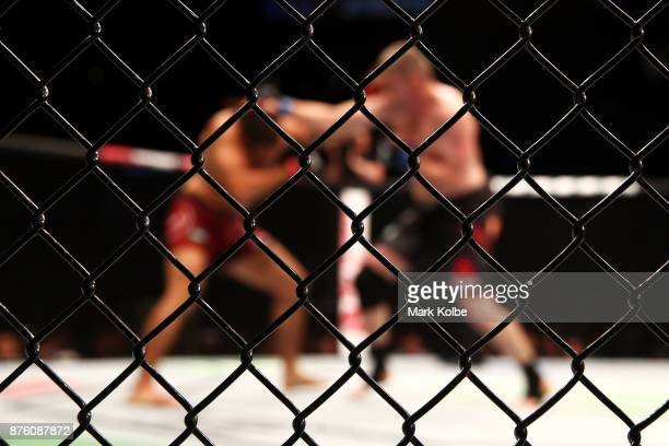 A general view is seen as Daniel Kelly of Australia and Elias Theodorou of Canada fight in their middleweight bout during the UFC Fight Night at...