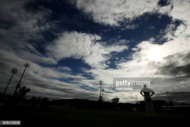 A general view is seen as Jason Behrendorff of the Warriors fields in the outfield the Sheffield Shield match between Victoria and Western Australia...