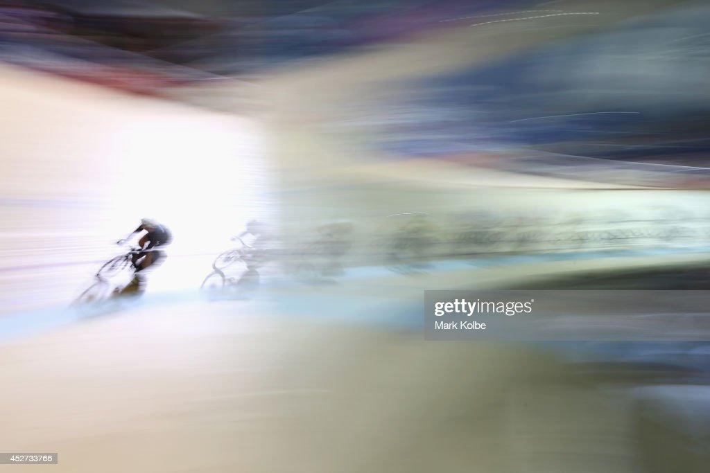 A general view is seen as riders race in the Men's 40km Points Race at Sir Chris Hoy Velodrome during day three of the Glasgow 2014 Commonwealth Games on July 26, 2014 in Glasgow, United Kingdom.