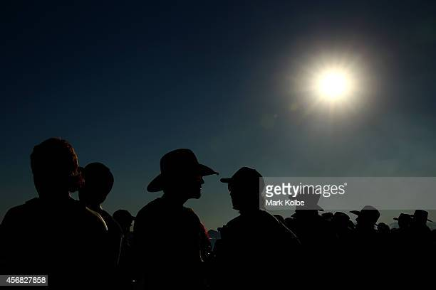 A general view is seen as the crowd watch event at the sports arena on the first day of the 2014 Deni Ute Muster at the Play on the Plains Festival...