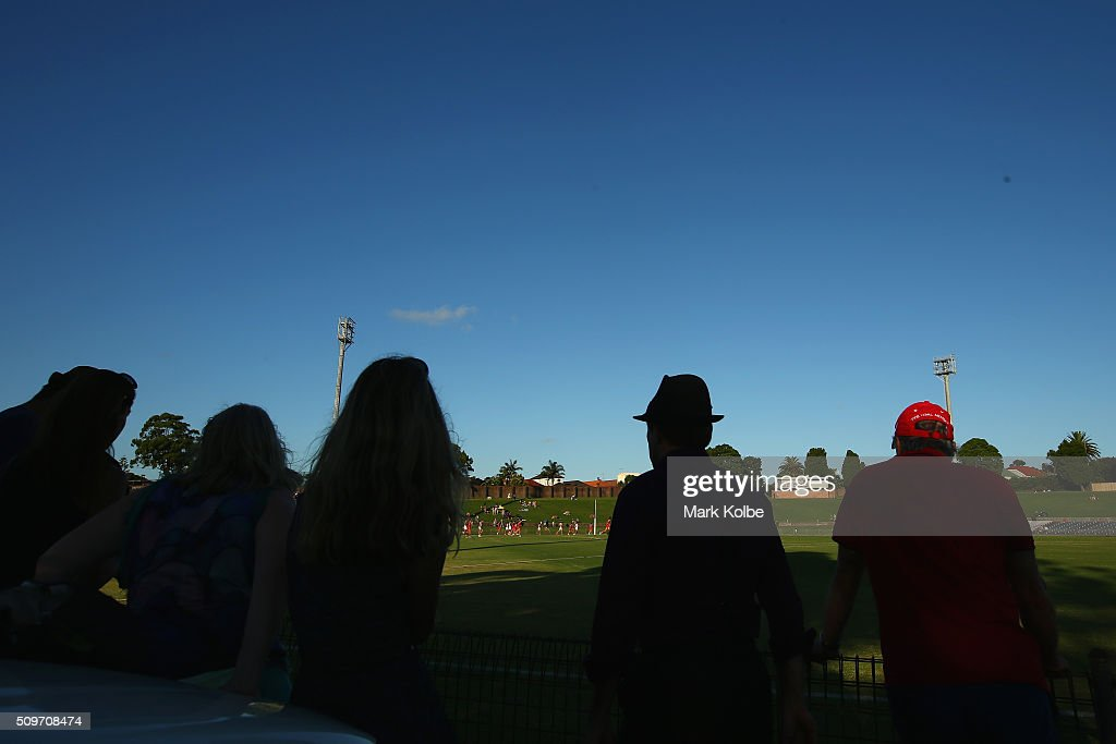A general view is seen as the crowd watch on during the Sydney Swans AFL intra-club match at Henson Park on February 12, 2016 in Sydney, Australia.