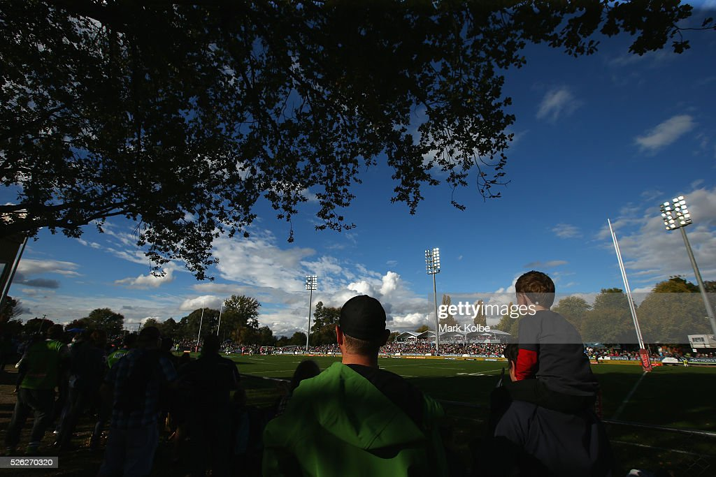 A general view is seen as the crowd watches on during the round nine NRL match between the Penrith Panthers and the Canberra Raiders at Carrington Park on April 30, 2016 in Bathurst, Australia.